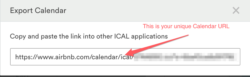 Airbnb Calendar URL