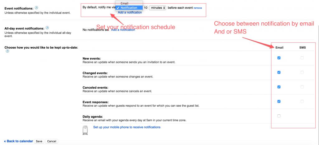 Notification set up google calendar