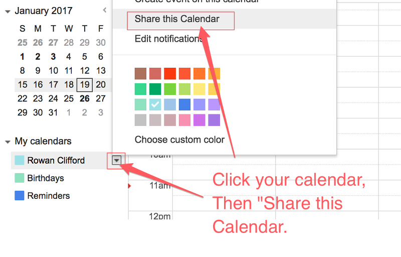 Share calendar with cleaner