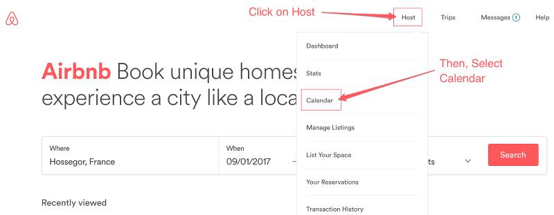 select calendar airbnb dashboard