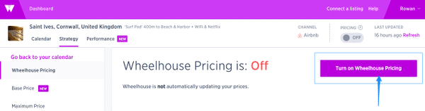 Wheelhouse airbnb automated pricing tool dashboard