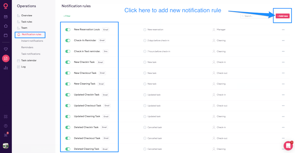 notification rules smartbnb
