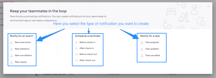 select notification type smartbnb