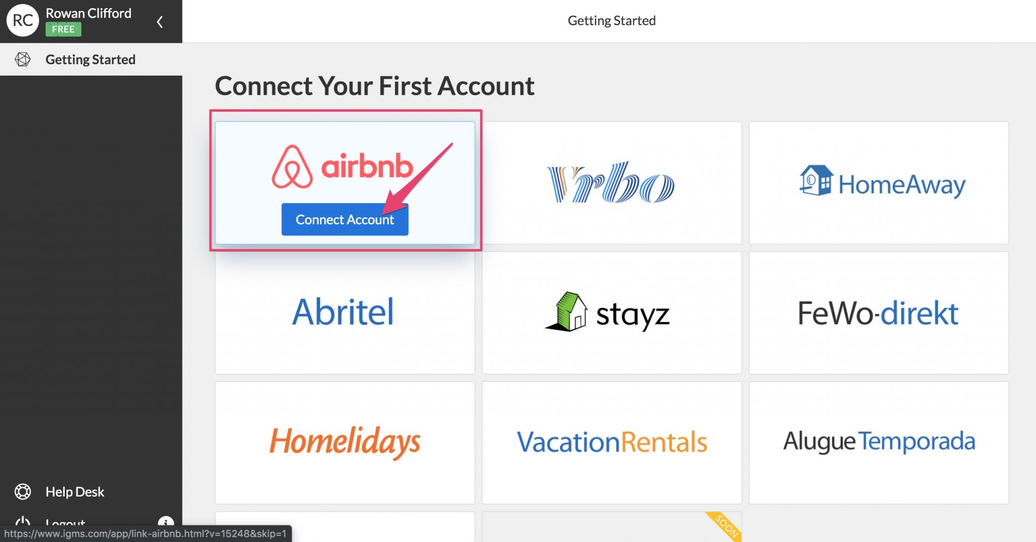 connect airbnb account to igms