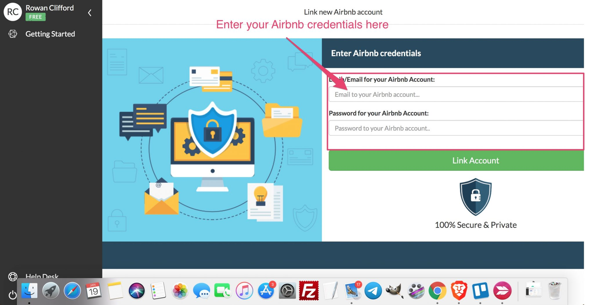 enter airbnb credentials into igms
