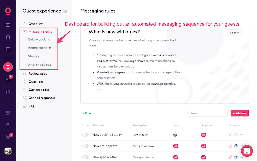 Backend messaging dashboard